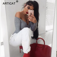 Articat Off Shoulder Knitted Sexy Bodysuit Women 2018 Strapless Elastic Summer Top