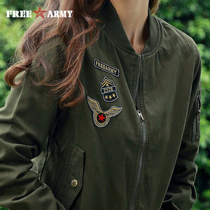 FREE ARMY Brand New Autumn Woman Bomber Jackets Army Green Letters Print Casual