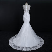Fansmile Quality Lace Mermaid Wedding Dresses 2019 Plus Size Customized