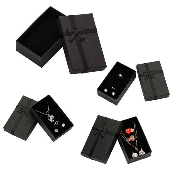 32pcs Jewelry Box 8x5cm Black Necklace Box for Ring Gift Box Paper Jewellery Box Packaging Bracelet Earring Display with Sponge
