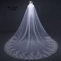 3 Meter Cathedral Wedding Veils Long Lace Edge Bridal Veil +Metal Comb