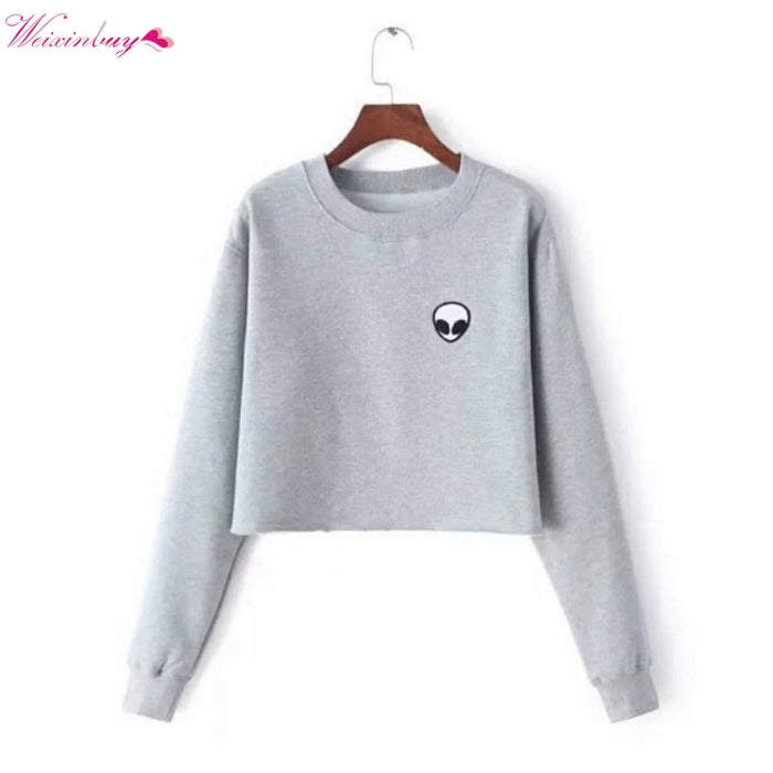 Alien Printed Hoodies Casual Pullover Long Sleeve Top 2018 New O Neck Solid Women's Sweatshirt Cotton Hoodies S-XL Gray Black