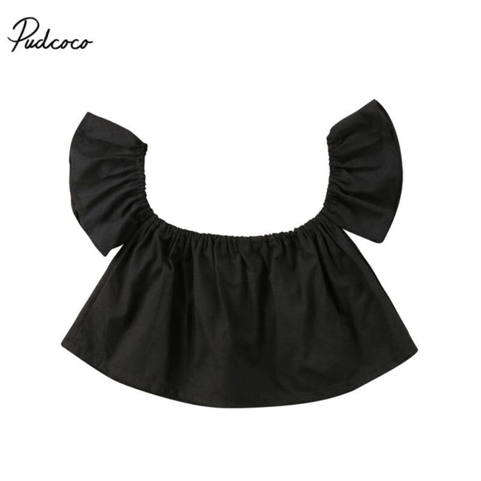 Newborn Toddler Baby Girls Princess Ruffle Off Shoulder Crop Top T-shirt Summer Kids Blouse