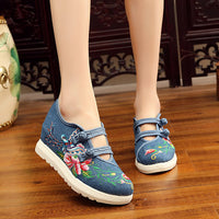 Veowalk Hidden Platform Women Casual Canvas Embroidered Sneakers Shoes Dual-Buckle Design Ladies Denim Jeans Thick Bottom Shoes
