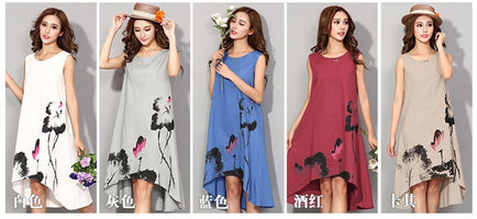 M - 6XL Summer Dress 2019 New Vestido Casual Dresses Women Chinese Linen Vintage Dress Ladies Sundress Plus Size Women Clothing