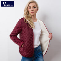 Parkas basic jackets Female Women Winter plus velvet