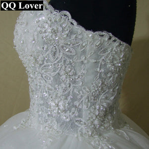 QQ Lover 2019 New Pearls Beaded Ball Gown Wedding Dress Luxury Bridal Gown Vestido De Noiva