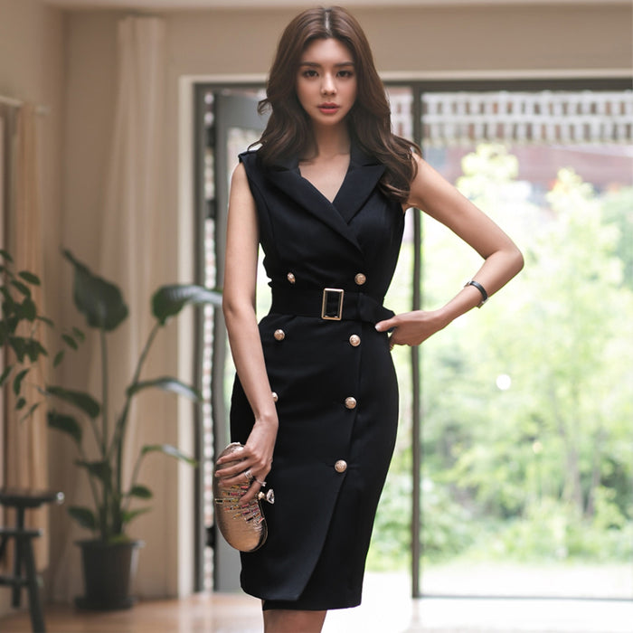 Women Summer Office Lady Belted  Vestidos Sleeveless Work Wear Dress clothes