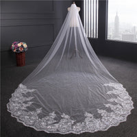 4 Meter Ivory/White Bridal Veils Lace Edge Tulle Bling Seuqins Cathedral