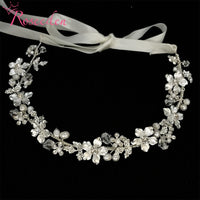 Freshwater Pearls  Crystal Headband Wedding Hair Accessories Vine Rhinestone Flower Bridal Tiara Headpiece  New RE3011