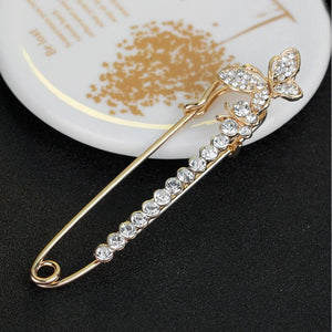 RHao Hijab Pins Rose Safety Pin Brooch Luxury Rhinestone women Men Brooches For Suit Scarves Corsage Sweater Collar