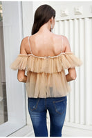 Simplee V neck strap boho mesh blouse shirt women Ruffle short sleeve elegant peplum tops Summer lace up ladies sexy blusas 2019