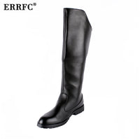 ERRFC Hot Selling Men Black Knee High Boot British Desiger Round Toe Back Zip