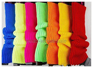 MISSKY Womens Girls Party Legwarmers Knitted Neon Dance 80s Costume 1980s Leg Warmers Colour:Rose