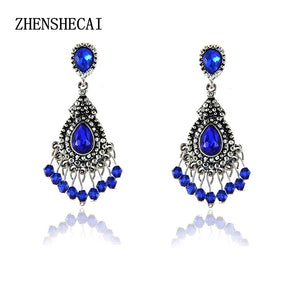 Blue/Silver Color Chandelier Crystal Long Earrings for Women Rhinestone