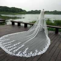 4M White Ivory Cathedral Wedding Veils Long Lace Edge Bridal Veil