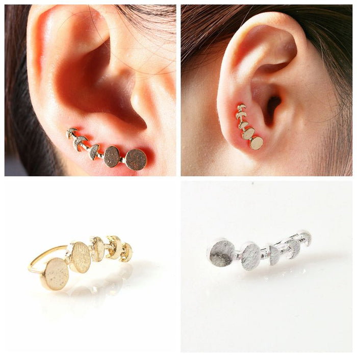 1 Pair New Design Stud Earrings Jewelry Women Moon Phases Climbers Ear