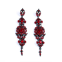 FLOLA Vintage Black Earrings with Stones Long Chandelier Drop Earrings Gothic