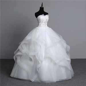 100% Real Appliques pearls Vintage White Plus Size Strapless Ball Gowns