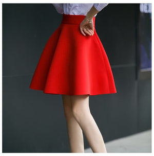 High Waist Pleat Elegant Skirt Green Black White Mini Flared Skirts Fashion Women Faldas Saia