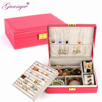 guanya Double Layer Large Capacity Gift Jewelry Box Velvet Accessories Ornaments Display Organizer Storage Carrying Case Boxes
