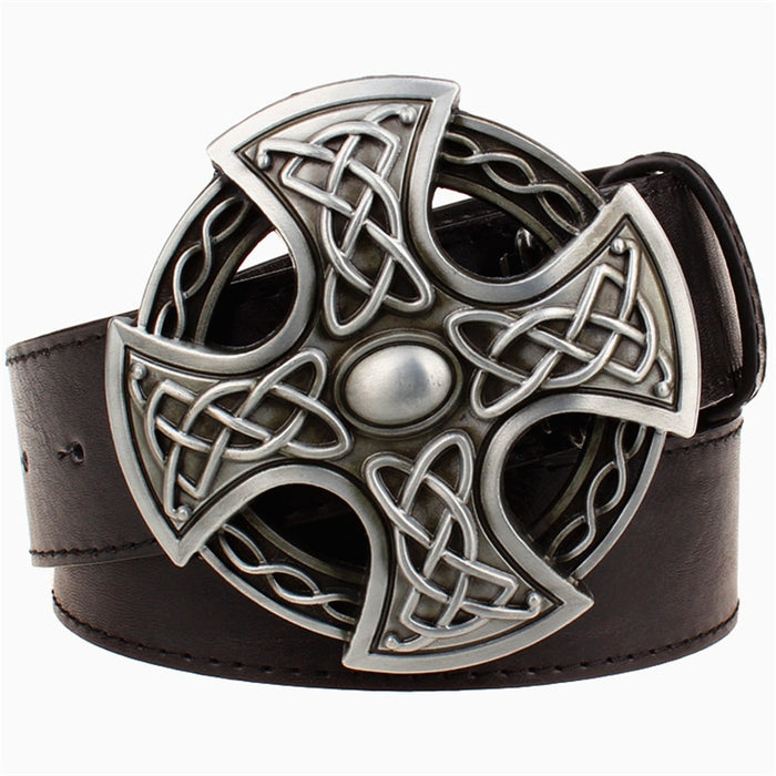 Fashion leather belt round buckle crosses pattern weave line Cross belt pattern pu leather belt men & women wear waistband