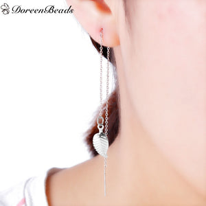 304 Stainless Steel Women's Fashion Ear Thread Threader Earring dull silver