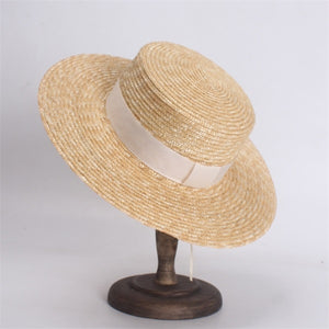 ROSELUOSI Women Summer Straw Hats Fashion Flat Top Boater Hat Men's Beach Sun Hats Chapeu Feminino