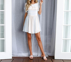 Lossky Summer Casual Women Dresses Short Sleeve O-Neck Draped Striped Polyester Loose A Line Mini Dress 2019 New Beach Sundress