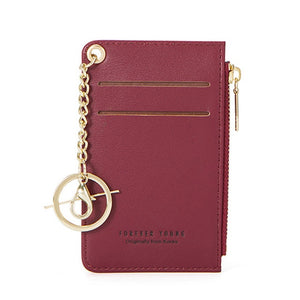 WEICHEN Mini Card Holder Women Soft Leather Key Chain Bag Small Card Wallets Female Mini Credit Card Case Zipper Coin Bags