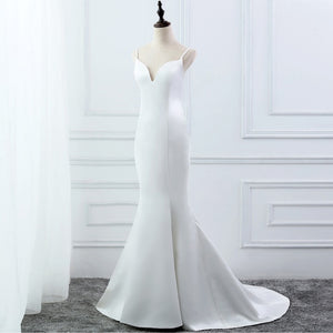 E JUE SHUNG White Simple Summer Mermaid Wedding Dresses V-neck Spaghetti Straps