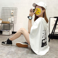 2018 Summer t-shirt women casual loose cotton top tee short sleeve Female hooded tshirt black white t shirt