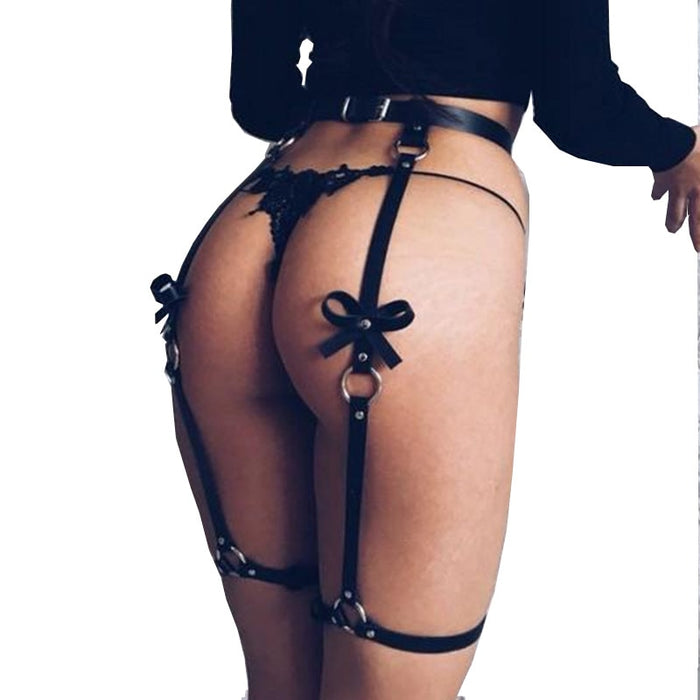 Leather Harness Belts For Women Thigh Straps Bow Leg Suspenders Belt For Stocking Goth Rave Seks Arnes Mujer Intimo Sexy Erotico