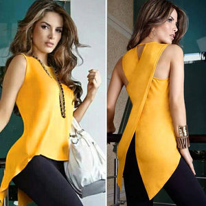 Blouse Casual Slim Slit Irregular Plus Size Shirt Tops Solid 3XL Chiffon O Neck Ladies