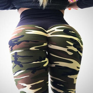 Hayoha Fashion Camouflage Wrinkles Push Up Leggings Women Fitness Slim Jeggings