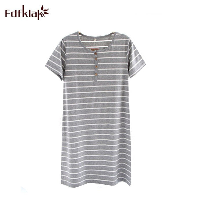 Fdfklak Women Casual Night Dress Sleepwear Cotton O-Neck Short Sleeve Striped Nightgown Lounge Dress Female Night Sleeping Shirt