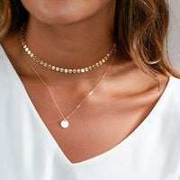Summer Simple Gold Coin Layered Choker Necklace For Women Multi Layer