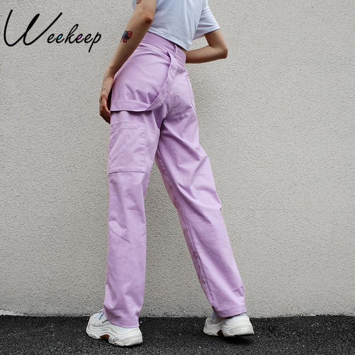 Weekeep Loose High Waist Women's Pants Cotton Full Length Trousers Women 2018 Fashion Stretch Streetwear Cargo Pants Women