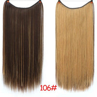 WTB Long Straight Synthetic Silky Wire No Clips in Hair Extensions High Temperature Fiber Fish Line  Invisible Hair Extensions