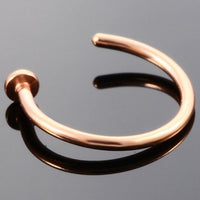 1PC Women Stainless Steel Nostril Nose Hoop Stud Rings Clip On Nose Rings