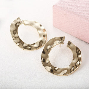 New fashion jewelry hoop earring sliver gold color Irregular geometric circles