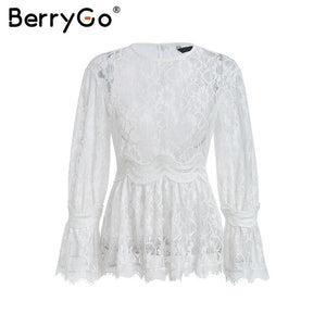 BerryGo Elegant ruffle peplum blouse shirt women O neck flare sleeve lace white blouse female Sexy perspective mesh top summer