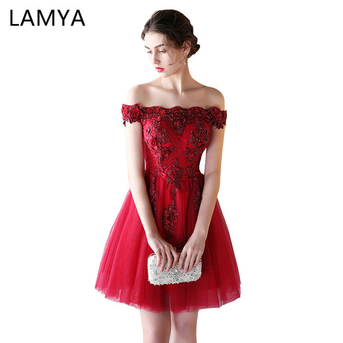 LAMYA Appliques Beading Prom Dresses Women Short Elegant Boat Neck Evening