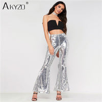AKYZO 2018 Sexy Women Glitter Pants Solid Sequin Club Long flare Pants Fashion Wide Leg Party Costume Sexy Bling White Trousers