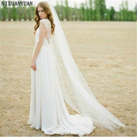White 3 m Long Trailing 1 Layer Cathedral Wedding Veils Bridal Veil
