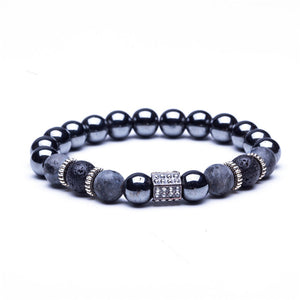 Charm Natural stone bracelets High quality Golden&Black Crown Dumbbells