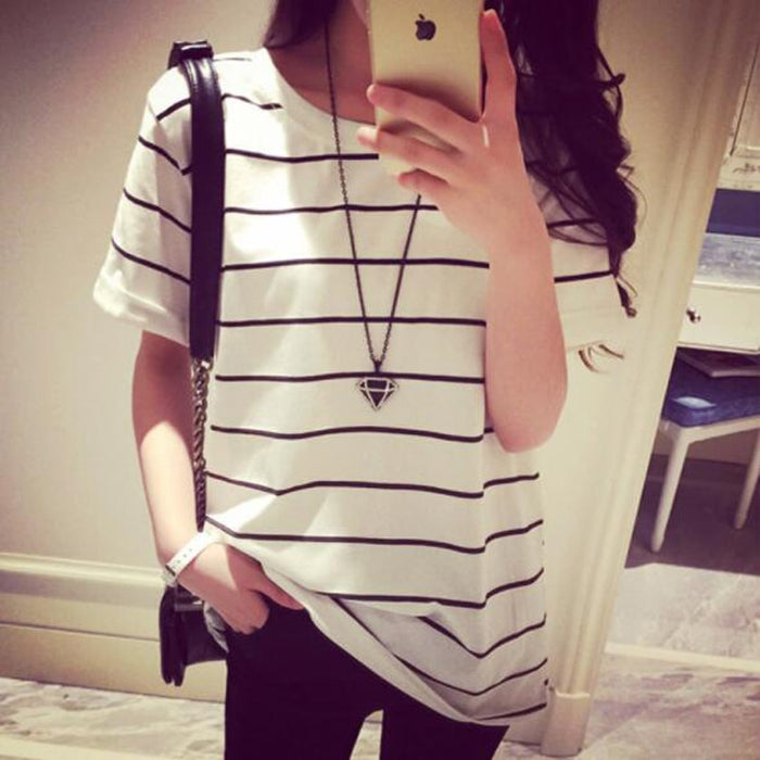 European American Classical Style Women Tshirt Striped Color Short Sleeve O Neck Women T-shirt Casual Loose T shirt Femme