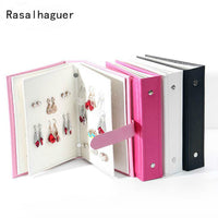 Hot Sale Women Stud Earrings Collection Book PU Leather Earring Storage Box Creative