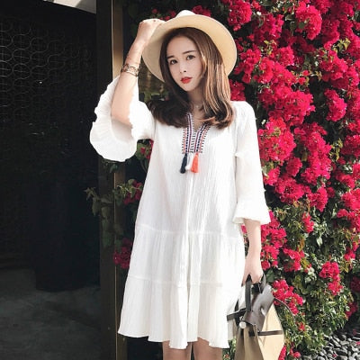 2019 new fashion  version of the national style long-style pregnant women's