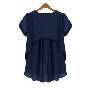 Plus Size Loose Chiffon Blouses for Women Navy Blue White Color Irregular Short Sleeve Summer Fall Fashion Tops Blusas Clothing